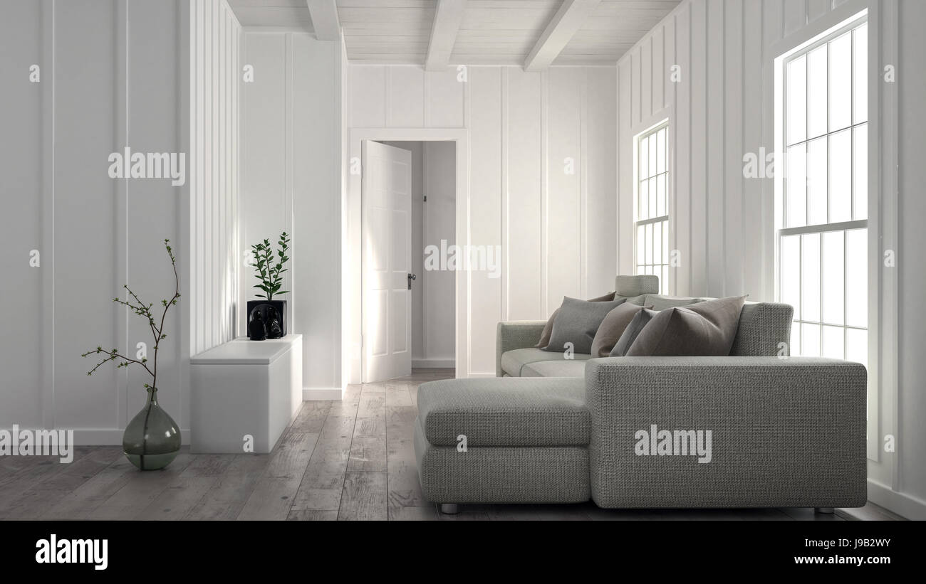 Minimalist bright white living room interior with wood panelled wall ...
