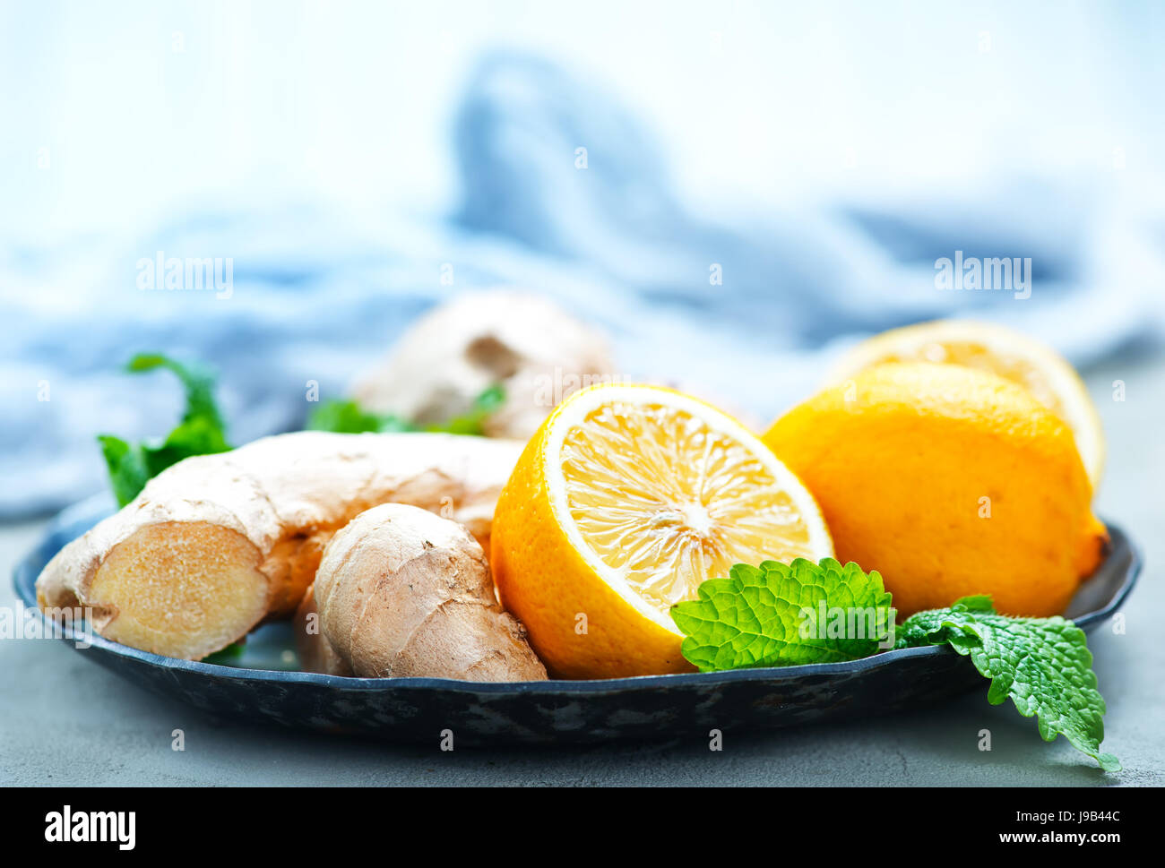 ingredients for tea, fresh products, stock photo - Stock Image