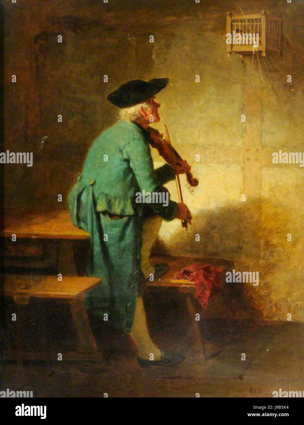 Wilhelm Roegge   Der Franzose spielt fur seinen Vogel 1872 - Stock Image