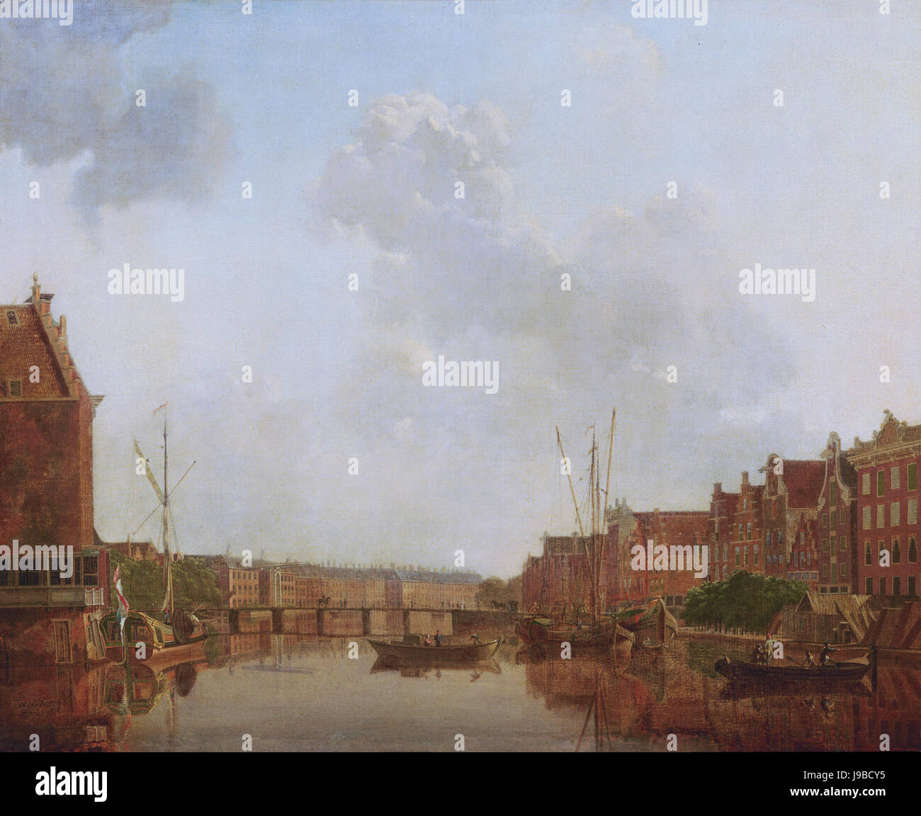 View of the River Amstel in Amsterdam, by Gerrit Toorenburgh Stock Photo