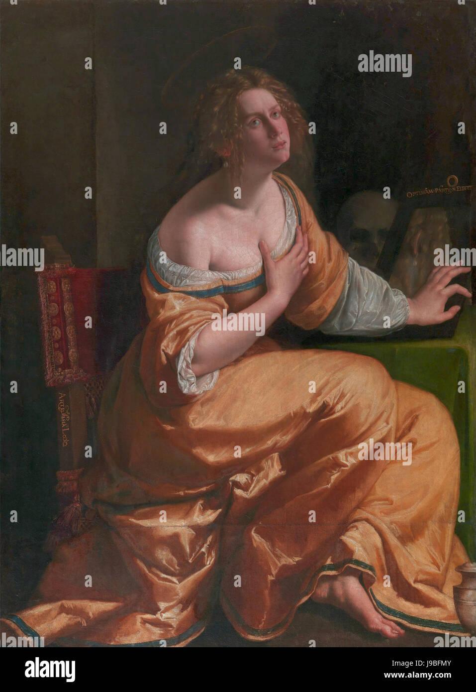 Self Portrait As Maria Magdalena By Artemisia Gentileschi Stock