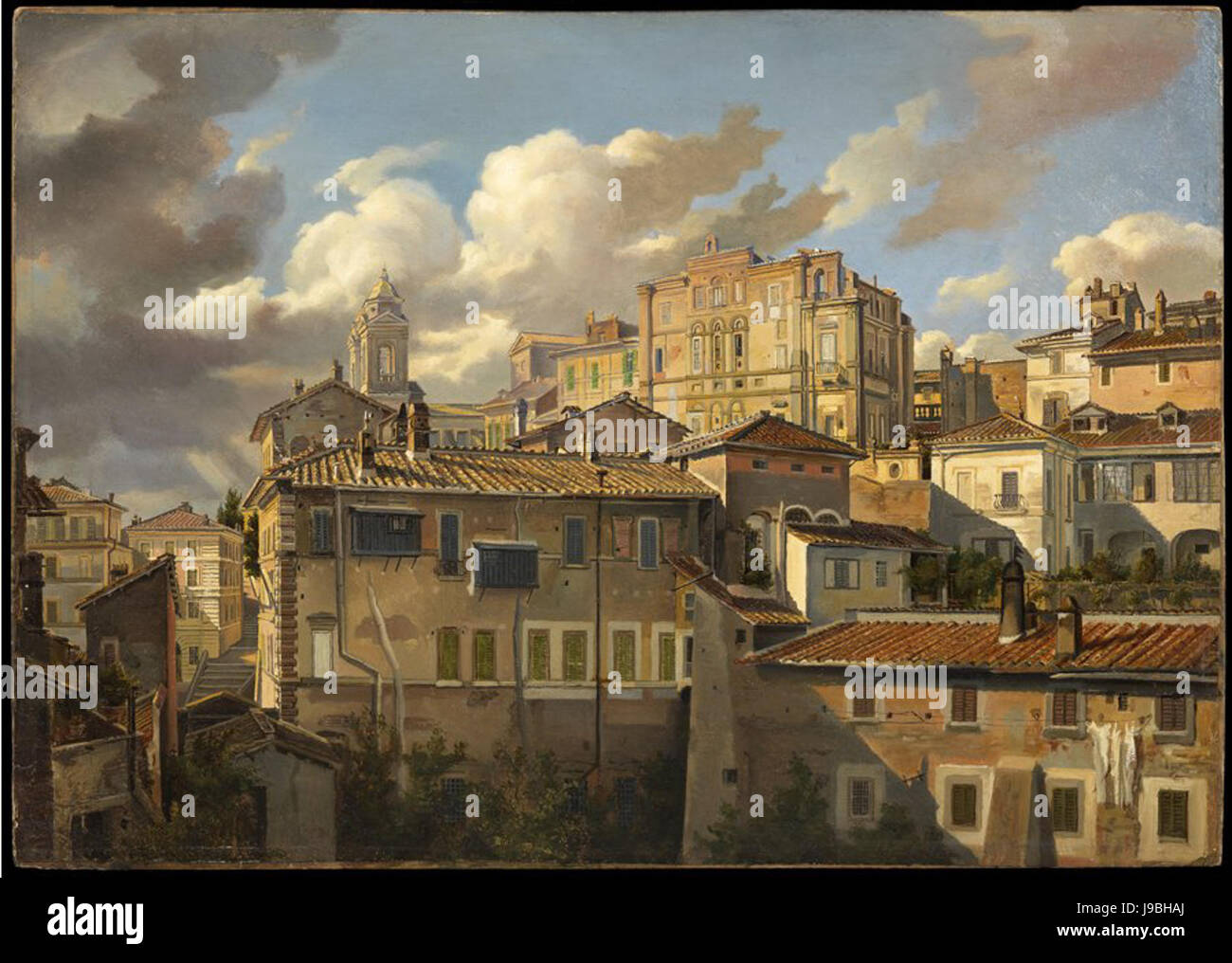 View of Monte Pincio and Palazzo Zuccari by Eugen Neureuther - Stock Image