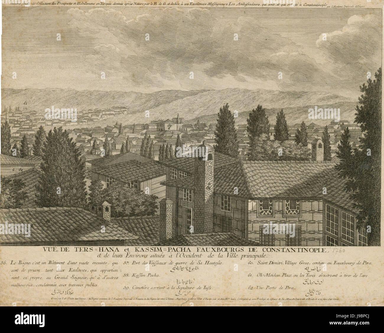 Vue de Ters Hana et Kassim Pacha Fauxbourgs de Constantinople, 1760 (Thelot)