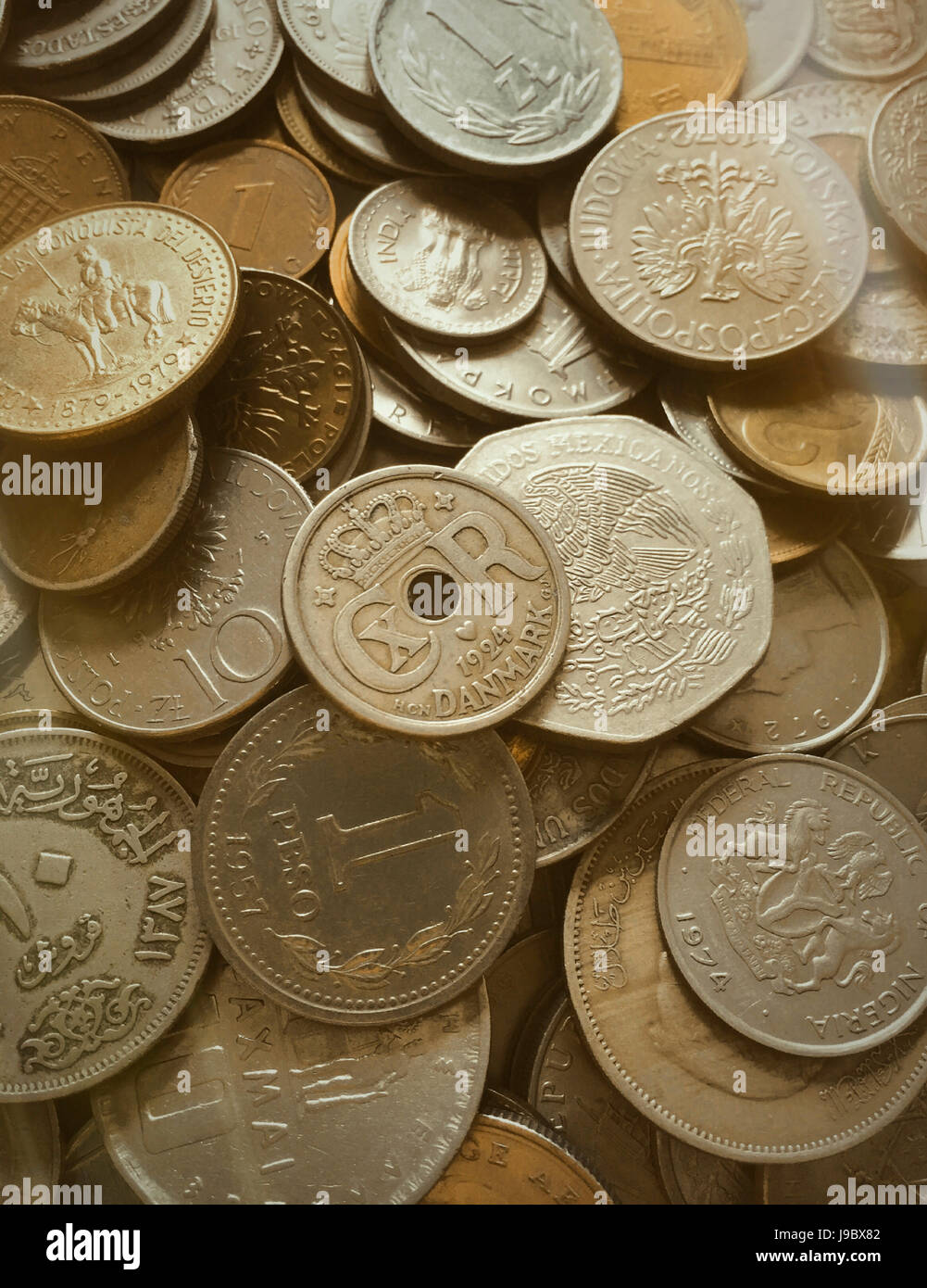 Multiple International Coins Stock Photo: 143476930 - Alamy