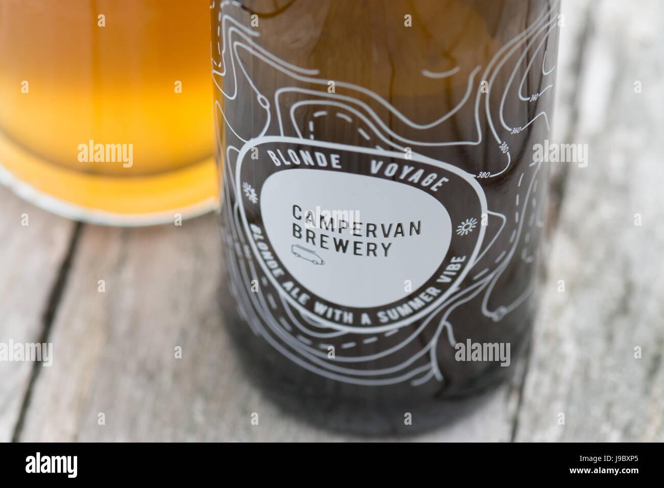 Campervan Brewery - an Edinburgh based craft beer business based around a modified campervan, Scotland, UK - Stock Image