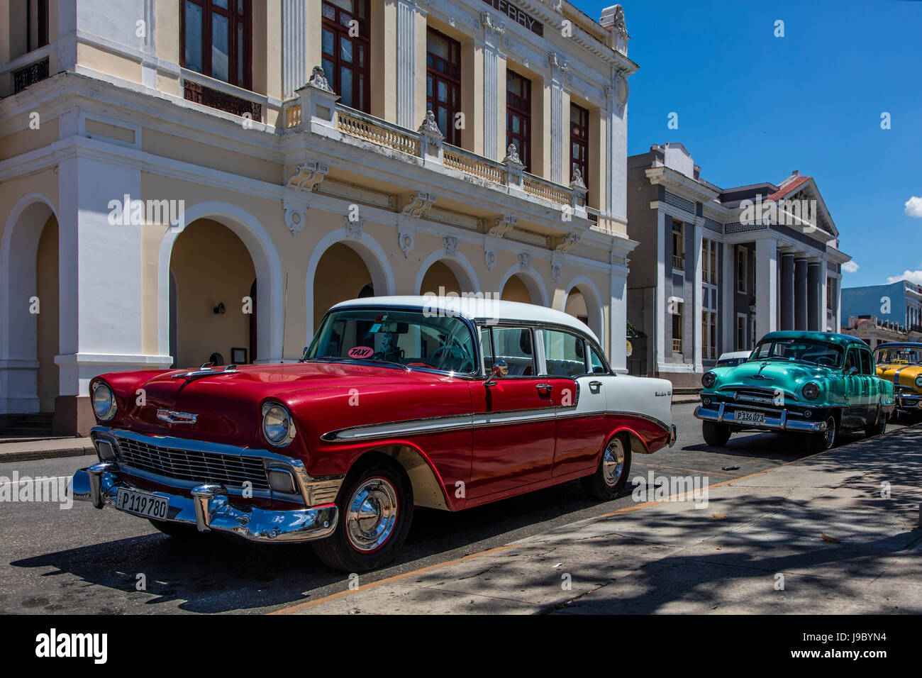 Classic American Cars in front of TEATRO TOMAS TERRY built in 1887 ...