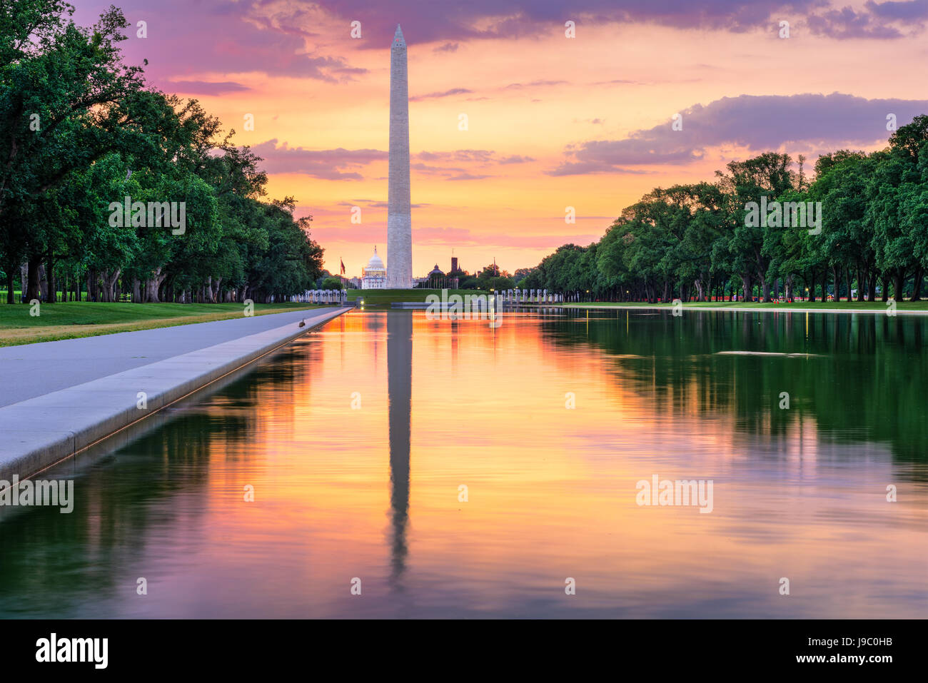 Washington Monument and Capitol Building from the Reflecting Pool in Washingon DC, USA. - Stock Image