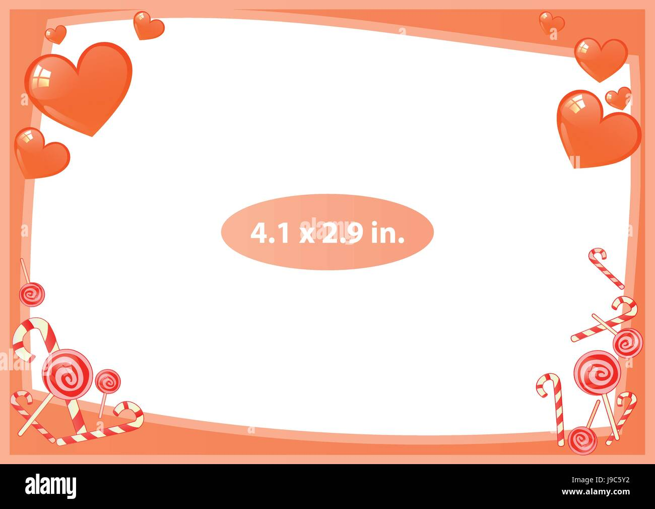 9b944b355787 Photo frame. Standard photo size in inches. Vector illustration for your  design. Horizontal layout of the sheet. Red frame with sweet. Striped sticks