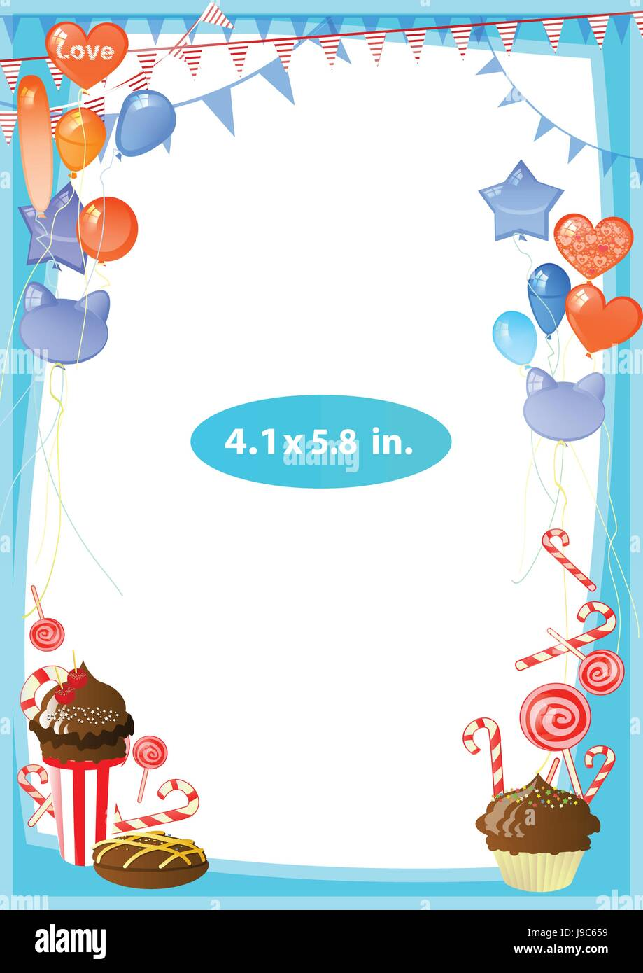 7ddb574cf51a Photo frame. Standard photo size in inches. Vector illustration for your  design. Vertical arrangement of the sheet. Blue frame with balloons
