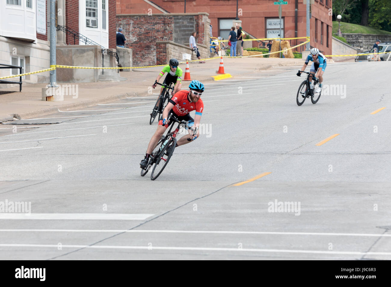Men's category 4 race at the 2017 Snake Alley Criterium in Burlington, Iowa. Stock Photo