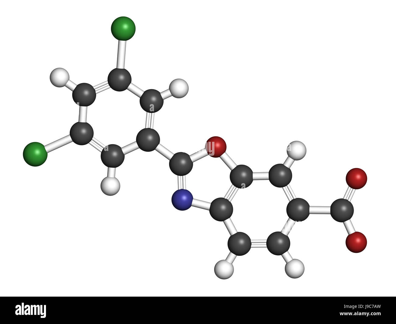 Tafamidis familial amyloid polyneuropathy (FAP) drug molecule. 3D rendering. Atoms are represented as spheres with - Stock Image