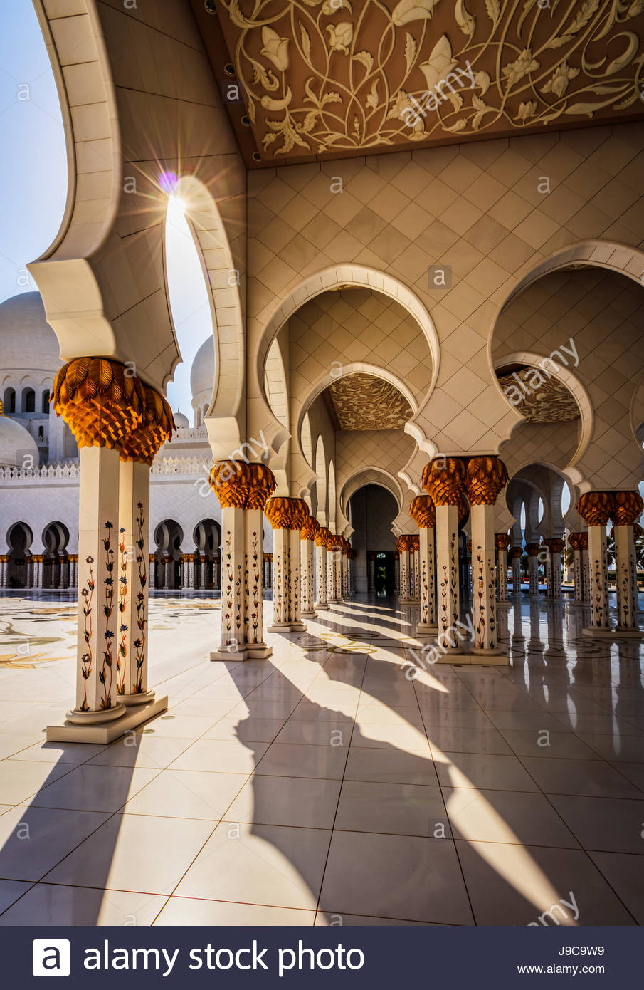 A view inside the Sheikh Zayed Grand Mosque in Abu Dhabi. - Stock Image