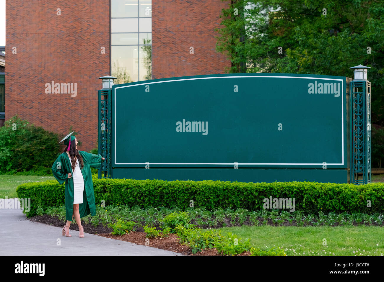 College Graduation Photo on University Campus - Stock Image