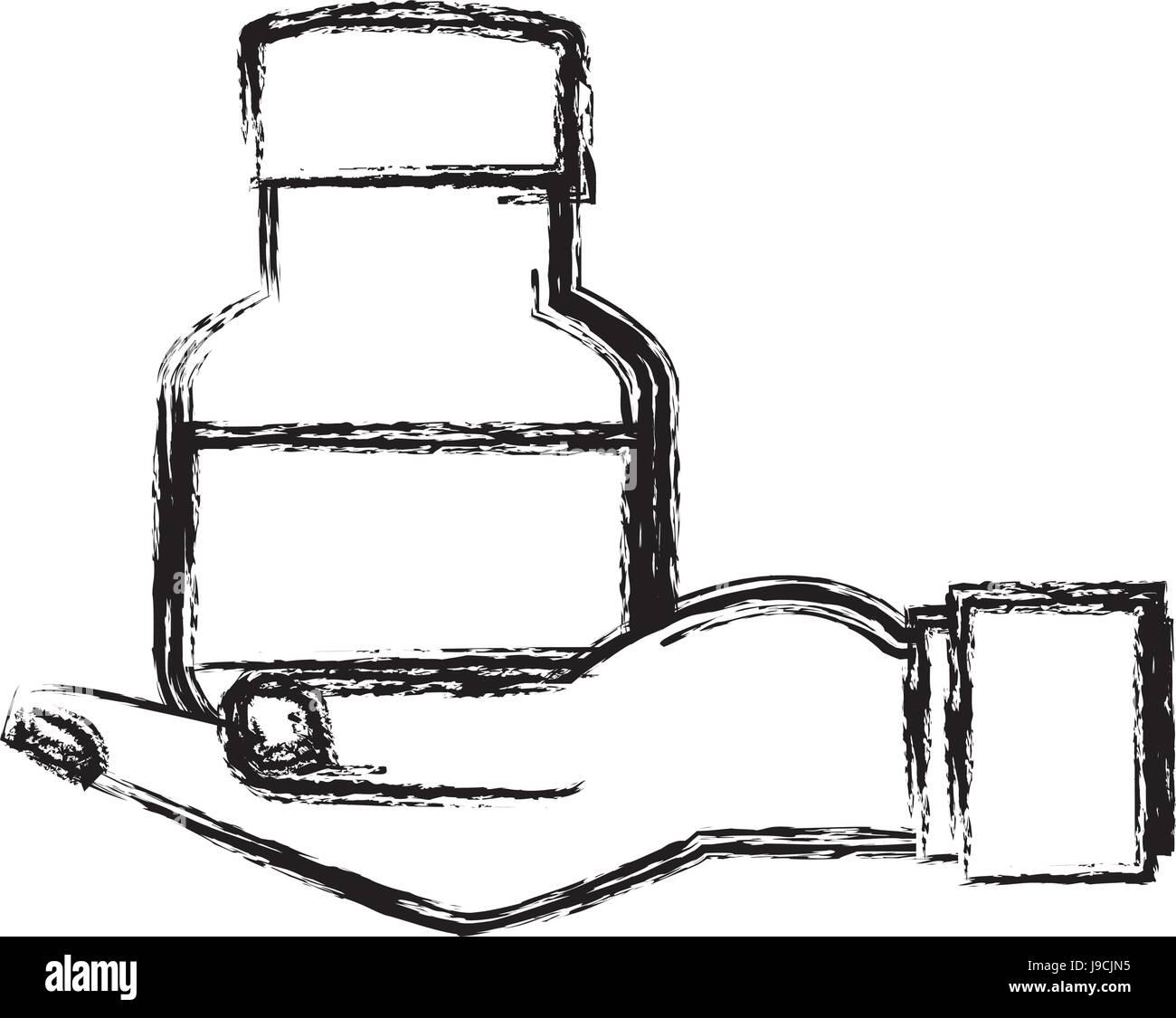 human hand holding bottle medicine pet care sketch - Stock Vector