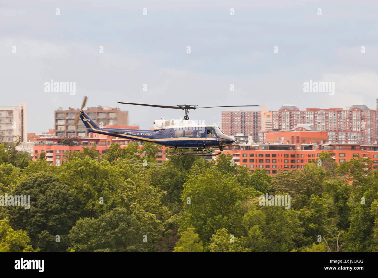 US Air Force 1st Helicopter Squadron , Bell UH-1N, flying low - Washington, DC USA - Stock Image