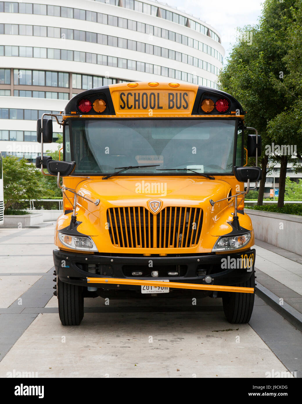 Parked school bus - USA - Stock Image