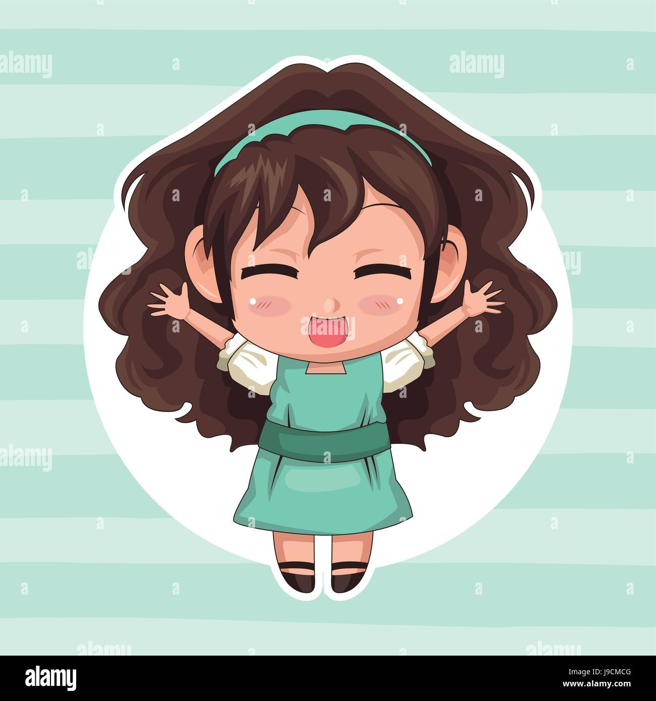 Blue striped color background with circular frame and cute anime girl wink expression open arms with curly hairstyle