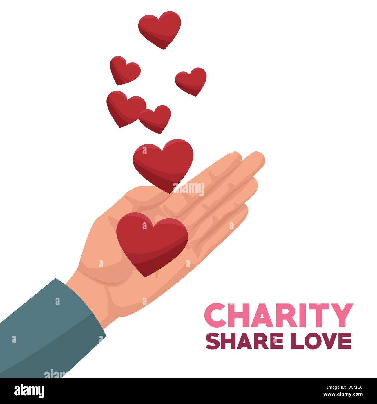 colorful hand with floating hearts charity share love - Stock Image