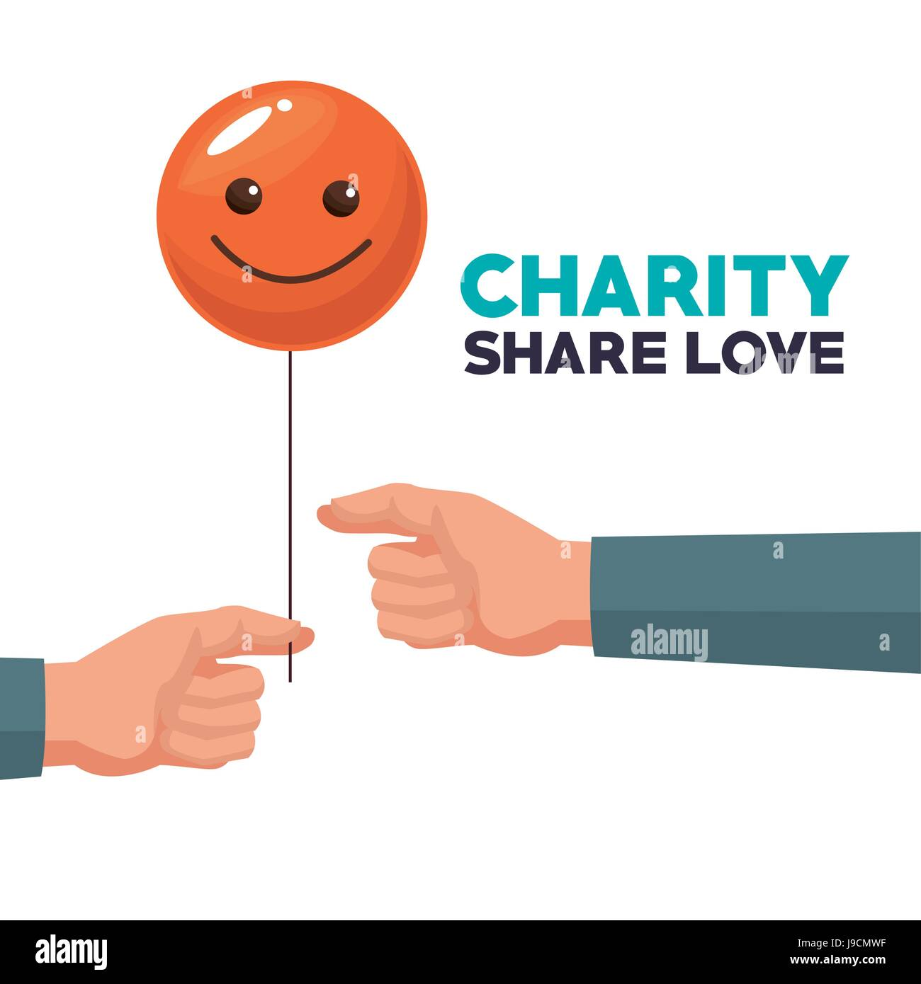 white background human hand giving a balloon form of happy face charity share love - Stock Image