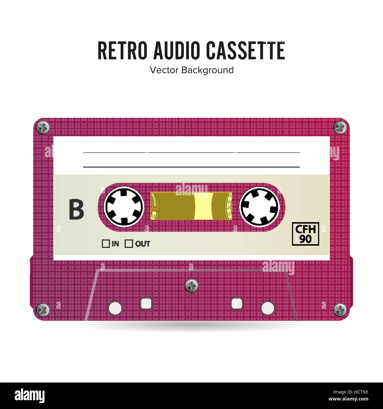 Retro Audio Cassette Vector. Detailed Retro C90 Audio Cassette With Place For Title - Stock Vector