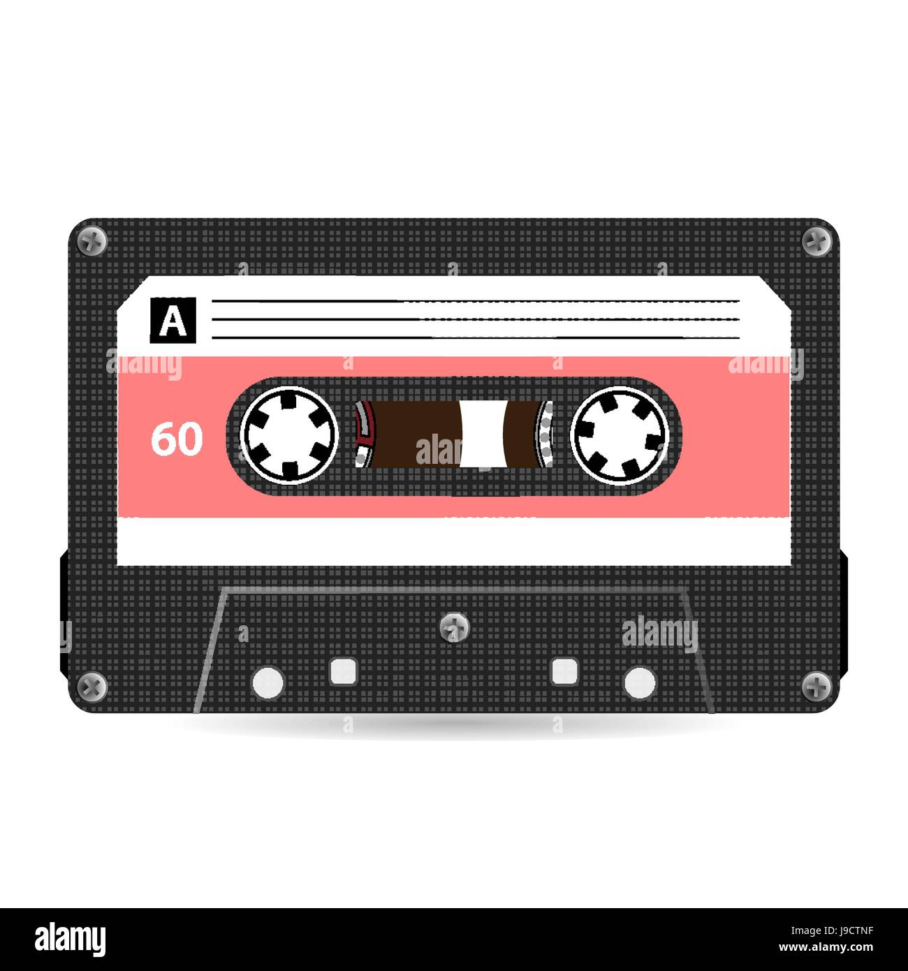 Retro Audio Cassette Vector. Plastic Audio Cassette Tape. Old Technology, Realistic Design Illustration. Isolated - Stock Image