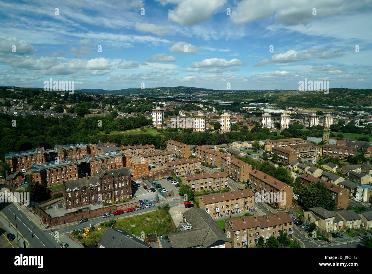 City of Sheffield from hi rise view point England - Stock Image