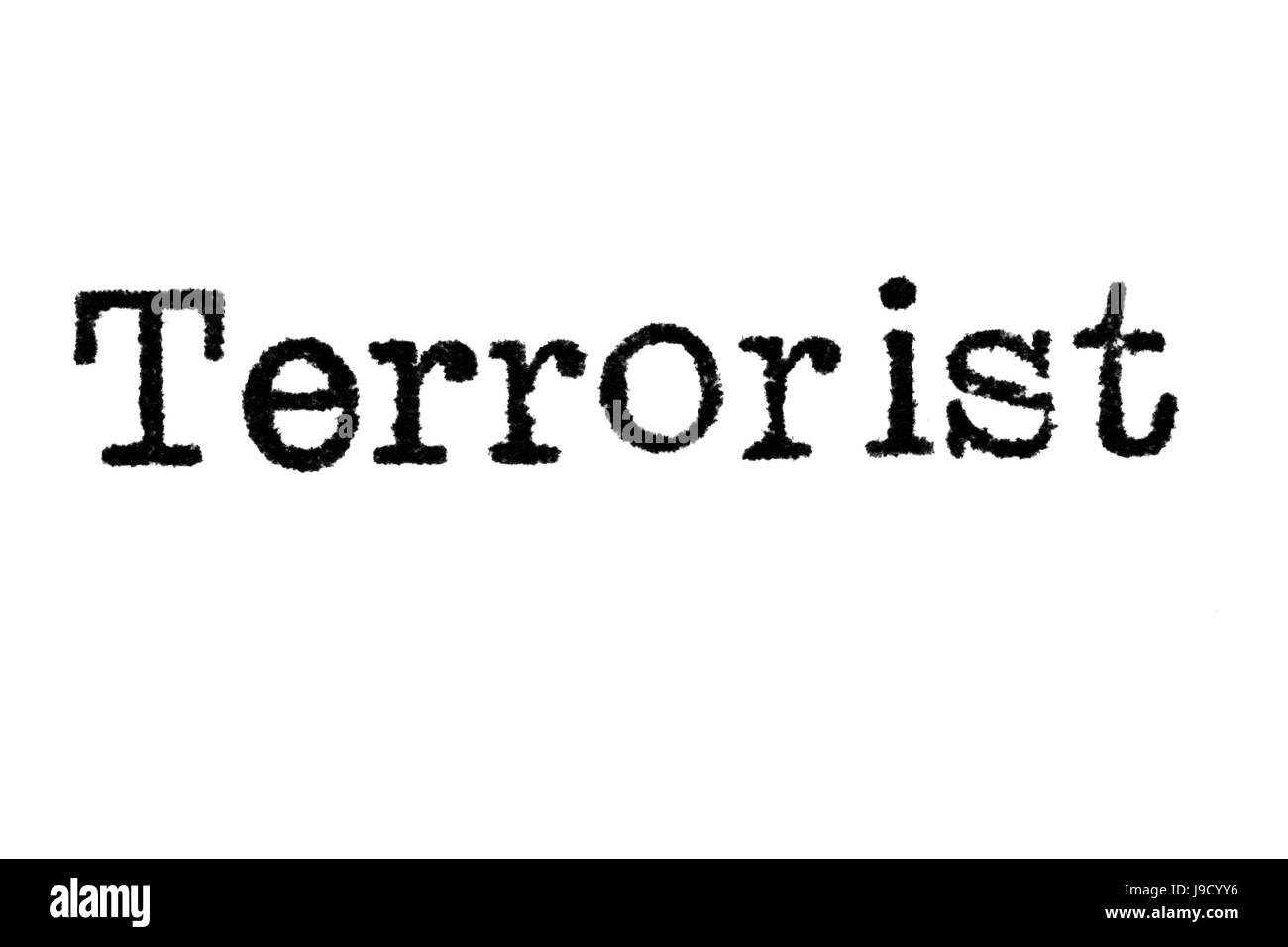 The word 'Terrorist' from a typewriter on a white background - Stock Image