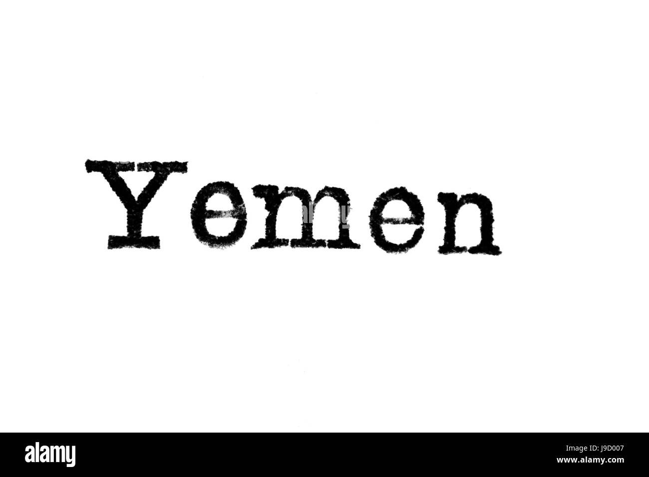 The word 'Yemen' from a typewriter on a white background - Stock Image