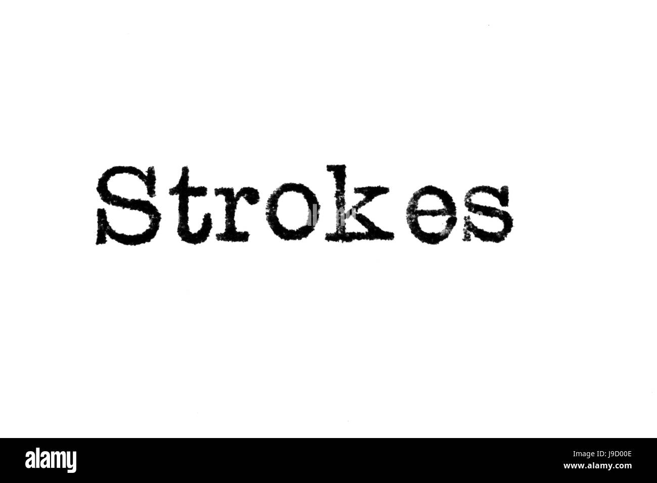 """The word """"Strokes"""" from a typewriter on a white background Stock Photo"""