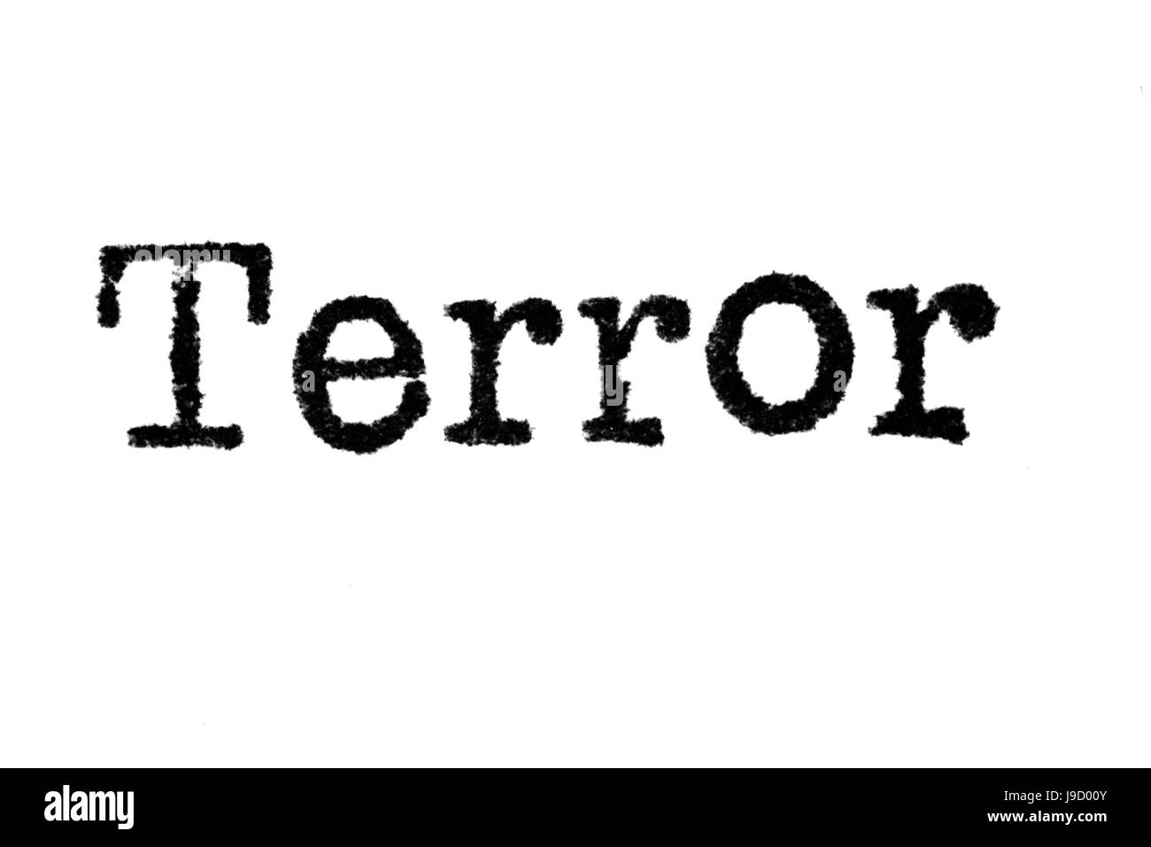 The word 'Terror' from a typewriter on a white background - Stock Image