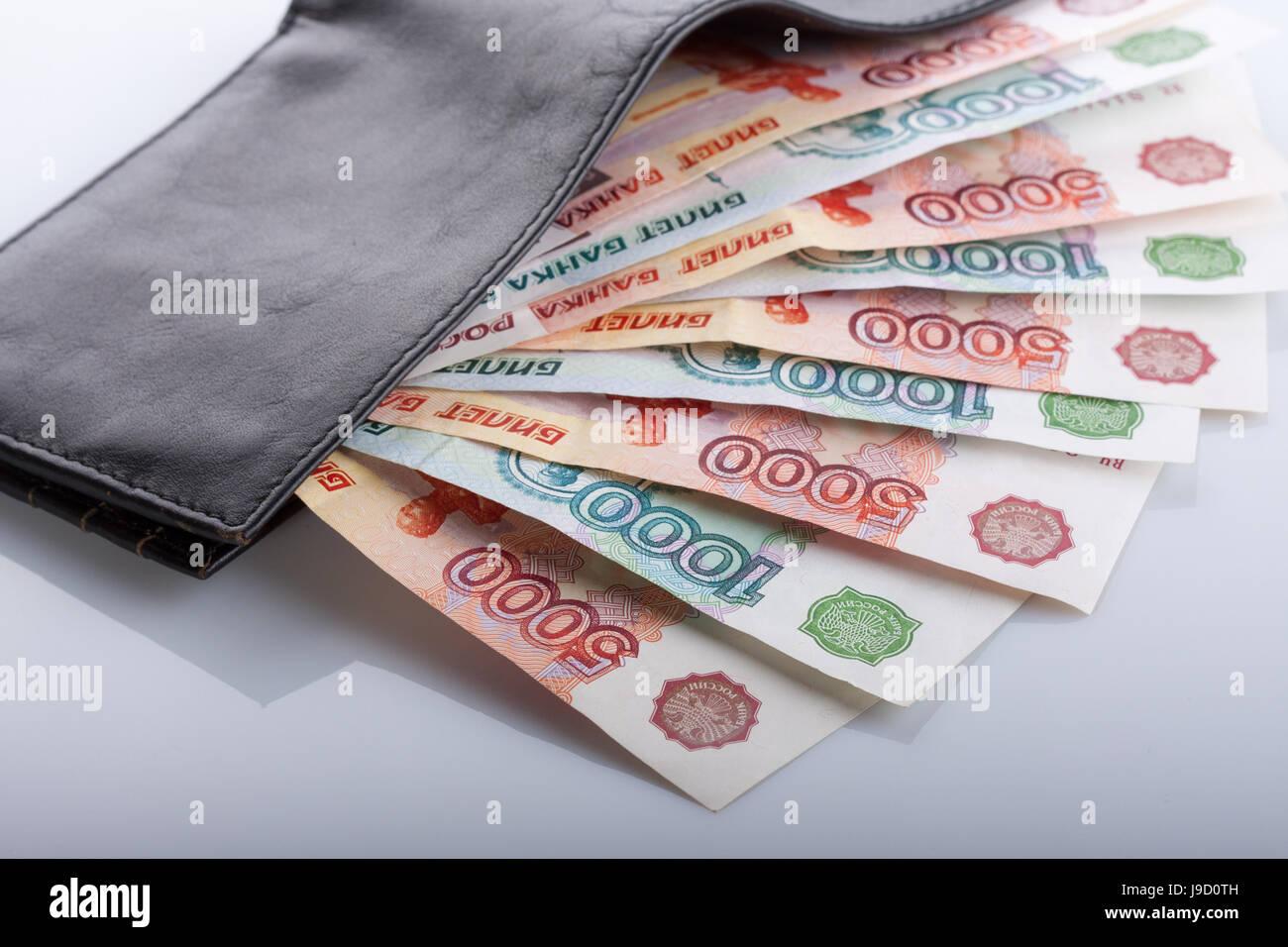 rouble bill cash cold cash money in cash money purse wallet