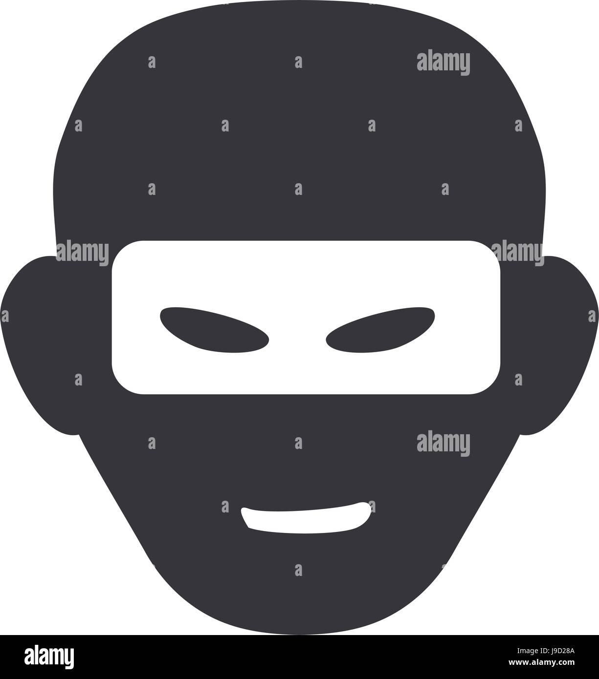 thief with mask dangerous symbol - Stock Vector