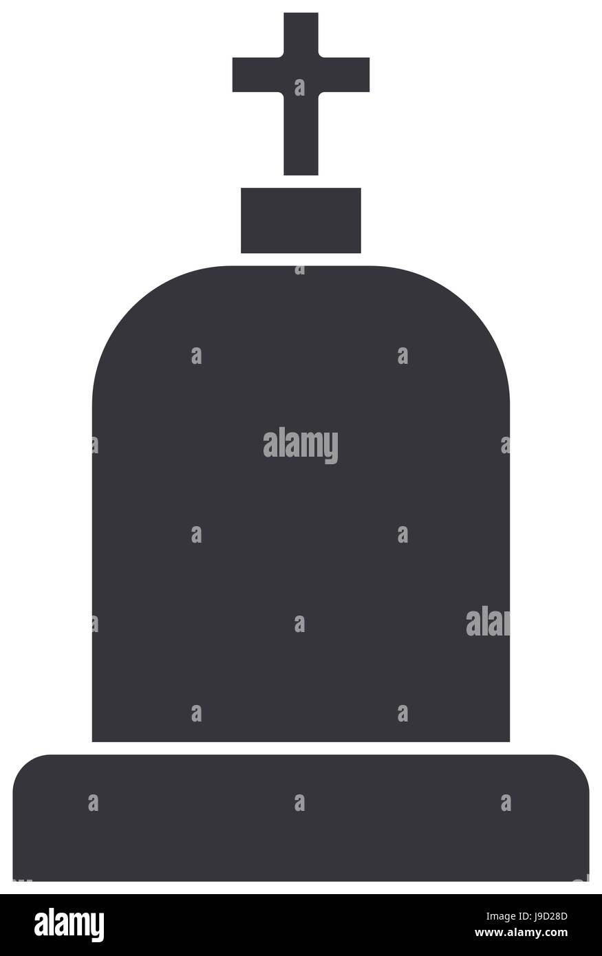tombstone with cross and religion funeral - Stock Vector