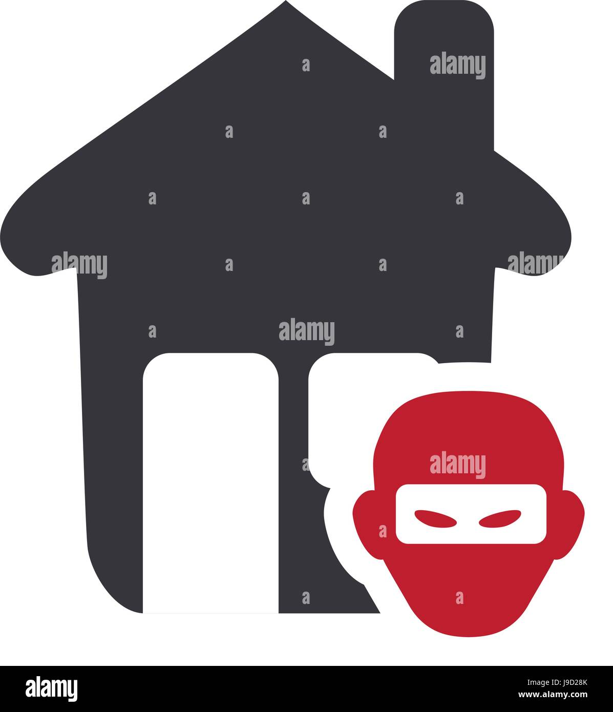 house with thief danger symbol - Stock Vector