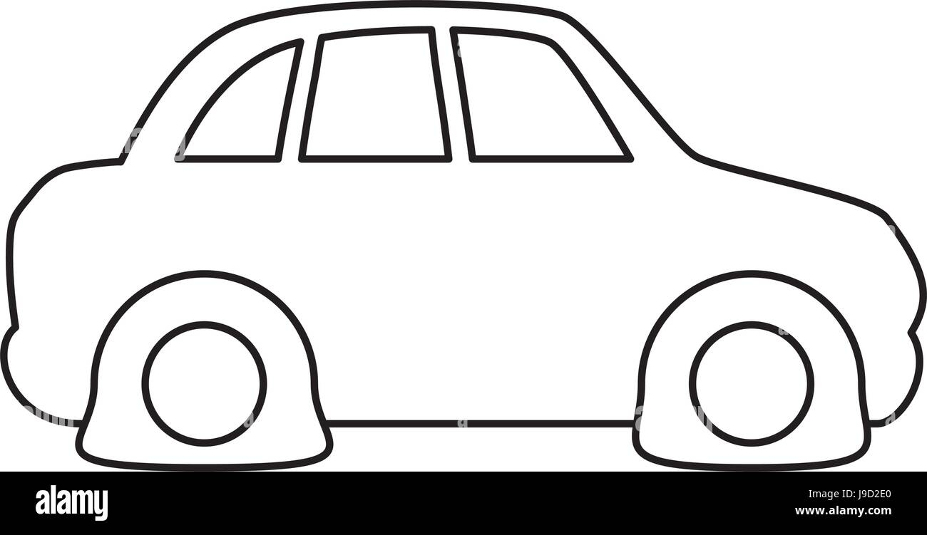 Line Flat Tire Car To Drive And Travel Stock Vector Art