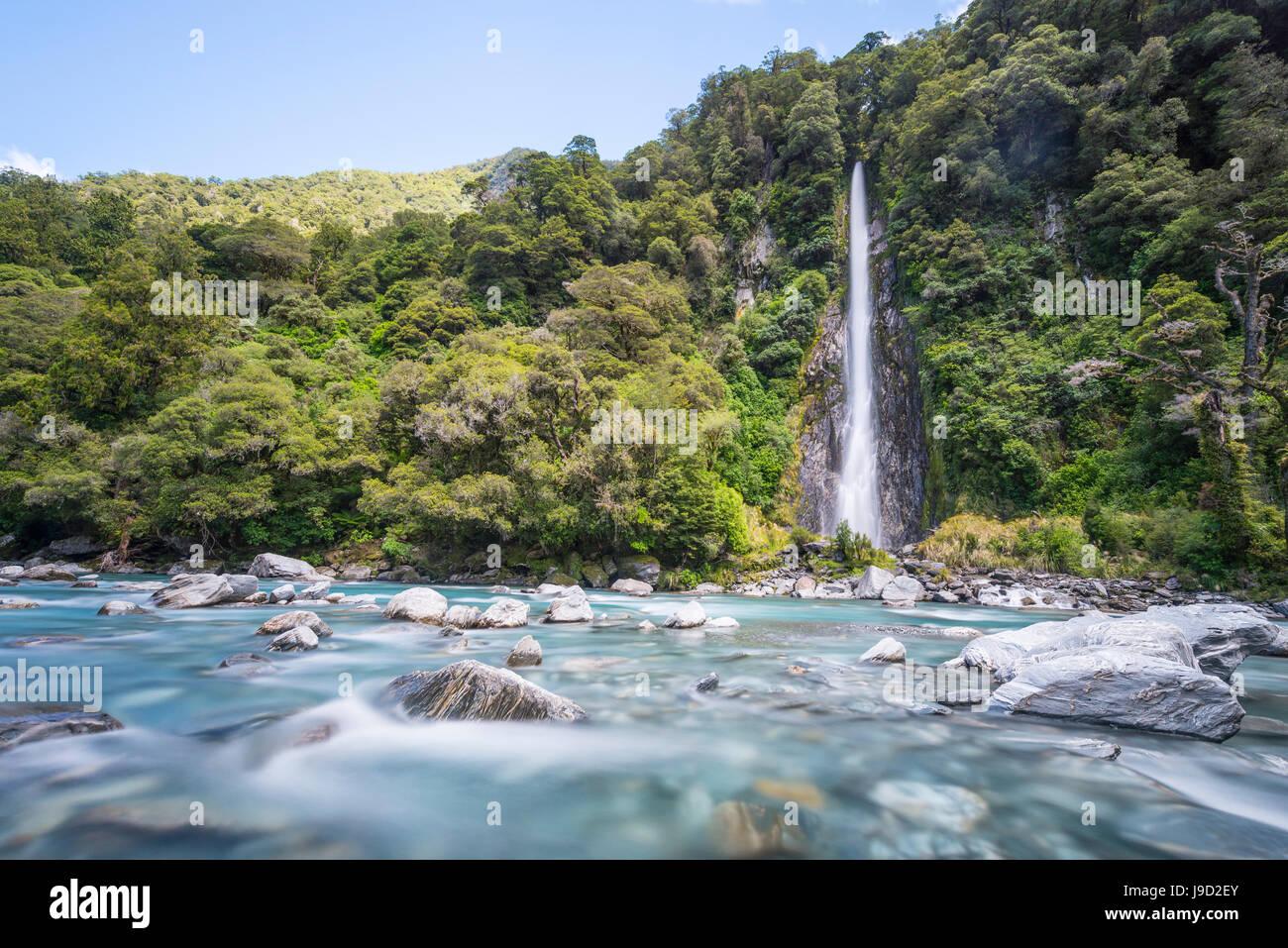 Thunder Creek Waterfall, Makarora River, Wanaka, Westcoast, South Island, New Zealand, Oceania - Stock Image