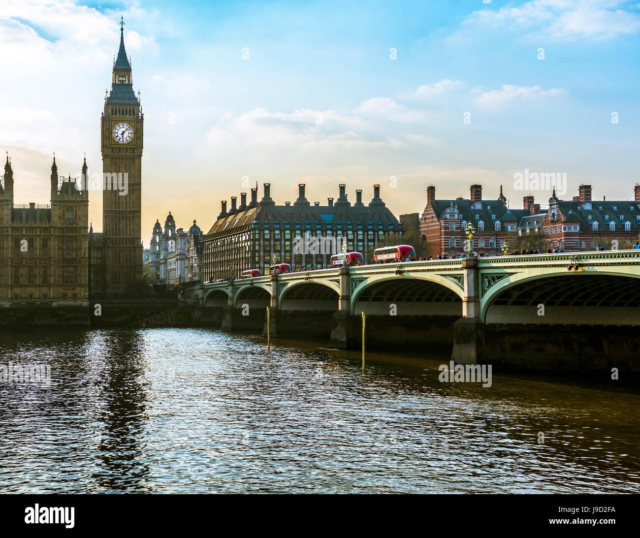 Big Ben, Westminster Bridge, Houses of Parliament, River Thames, London, England, UK - Stock Image