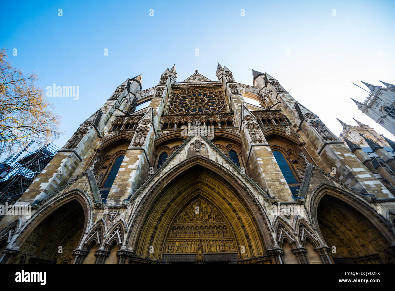 Westminster Abbey, the northern cross-ship with portal arches, round windows and shoring towers, London, England, - Stock Image