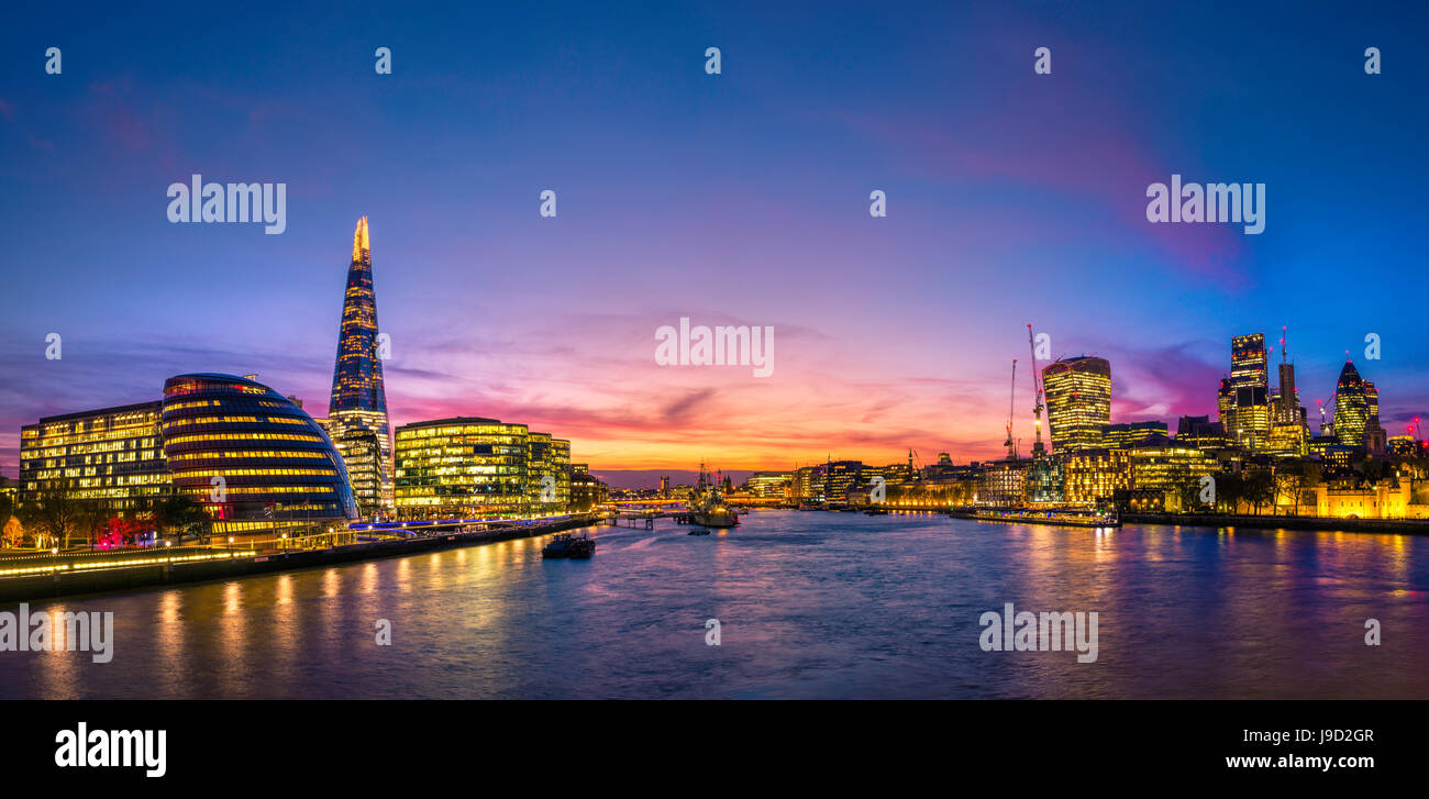 Panorama, Skyline of the City of London, with the buildings Gherkin, Leadenhall Building and Walkie Talkie Building, - Stock Image
