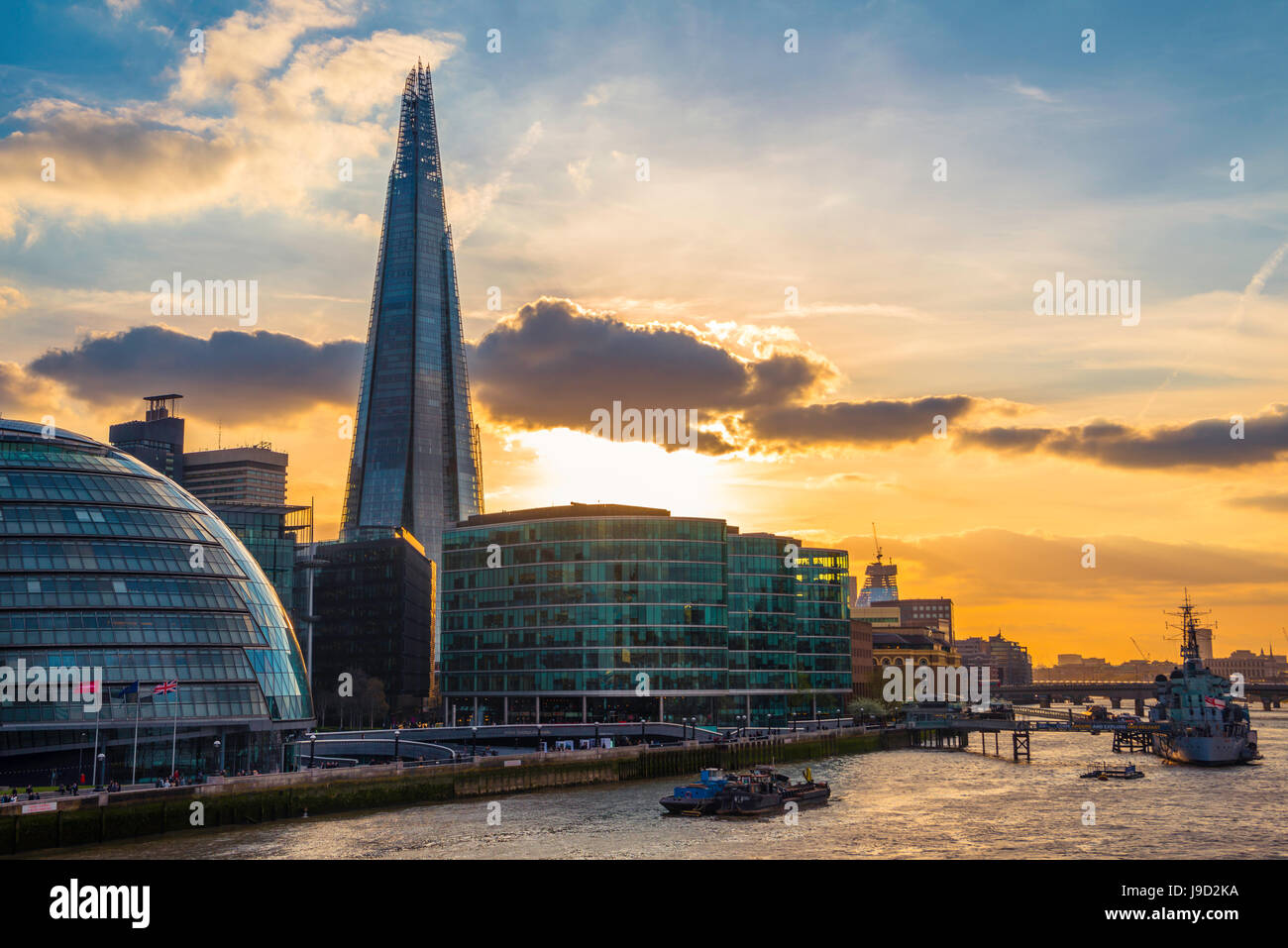 Skyline of the office complex More London Riverside, London City Hall, City Hall, The Shard, Thames at sunset, Southwark, - Stock Image