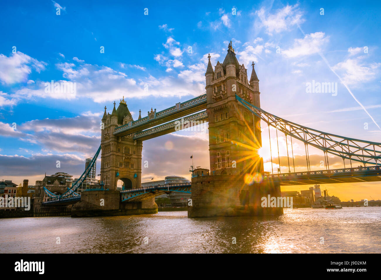 Tower Bridge over the Thames at sunset, London, England, United Kingdom - Stock Image