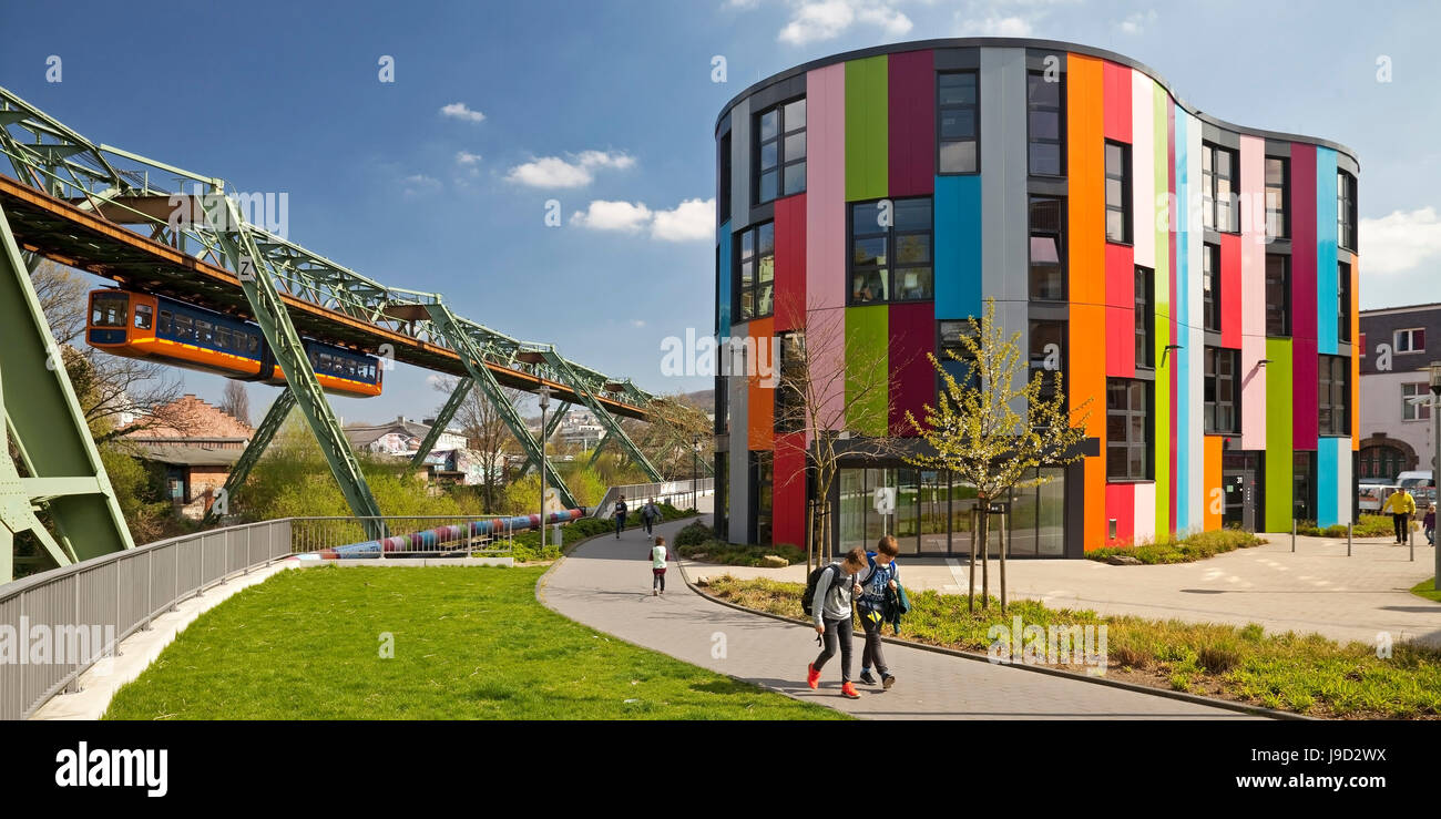 Junior Uni with the suspension railway, Wuppertal, Bergisches Land, North Rhine-Westphalia, Germany - Stock Image