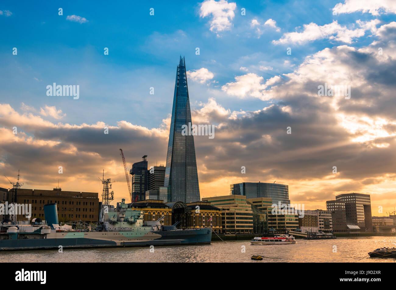 Skyline, The Shard, Thames at sunset, Southwark, London, England, United Kingdom - Stock Image