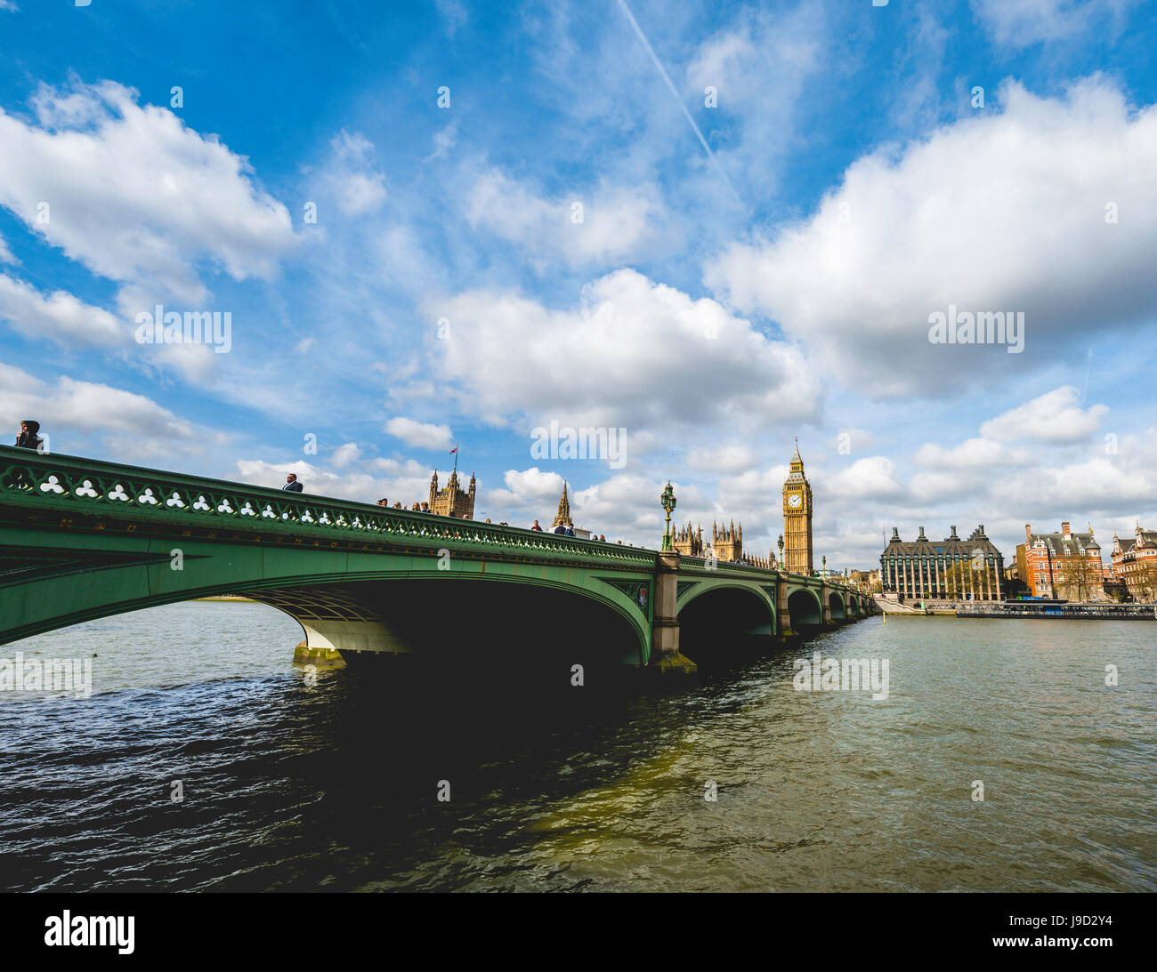 Big Ben, Westminster Bridge, River Thames, London, England, Great Britain - Stock Image