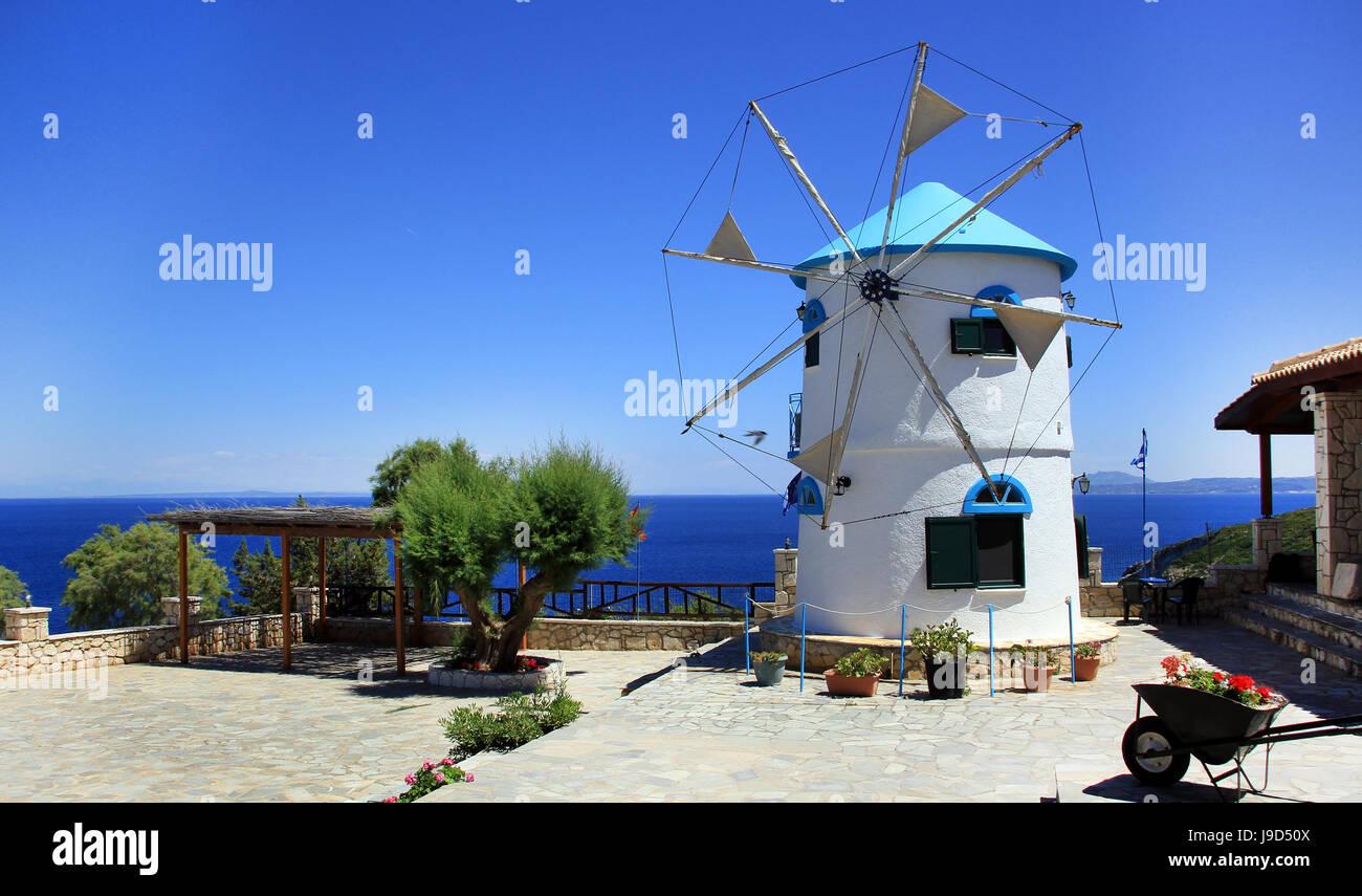 Greek traditional windmill on Skinari Cape, Zakynthos island, Greece Stock Photo