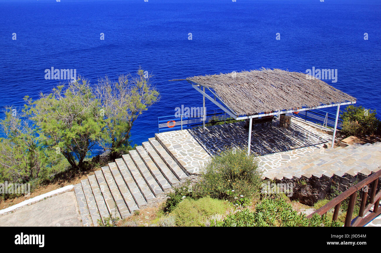 View from Skinari belvedere with stairs on beautiful sea background on Zakynthos island, Greece Stock Photo
