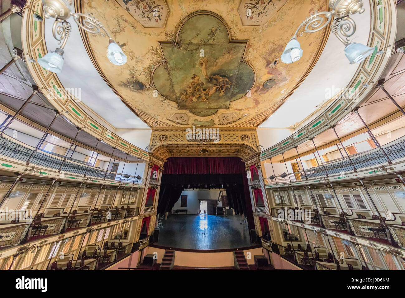 Interior view of the Teatro Tomas Terry (Tomas Terry Theatre), opened in 1890 in the city of Cienfuegos, UNESCO, - Stock Image