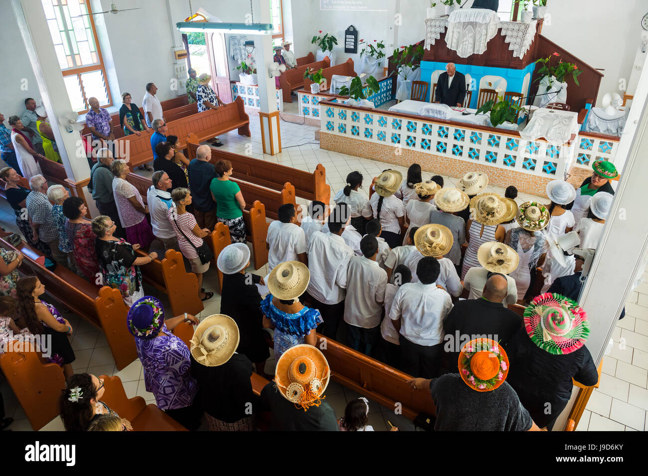 Women with traditional hats at a church service, Rarotonga, Rarotonga and the Cook islands, South Pacific, Pacific - Stock Image