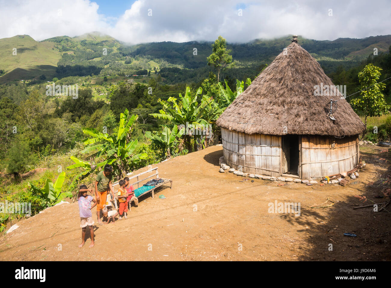 Traditional house in the mountains of Maubisse, East Timor, Southeast Asia, Asia - Stock Image