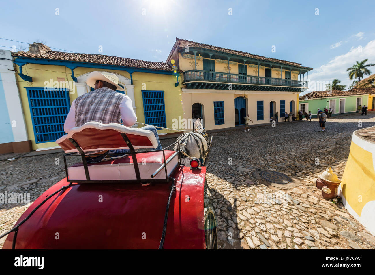 A horse-drawn cart known locally as a coche in Plaza Mayor, Trinidad, UNESCO World Heritage Site, Cuba, West Indies, - Stock Image
